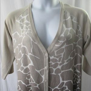 CJ Banks Cardigan Sweater Sz 2X Giraffe Print